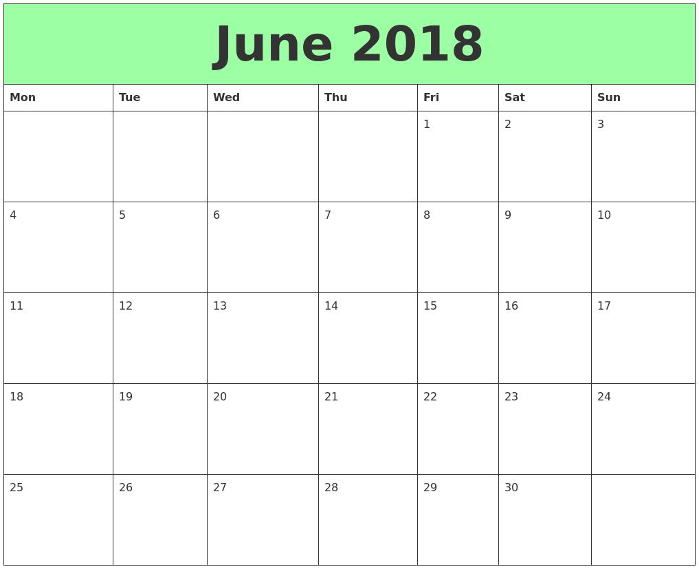 Calendar Pdf June : June printable calendars