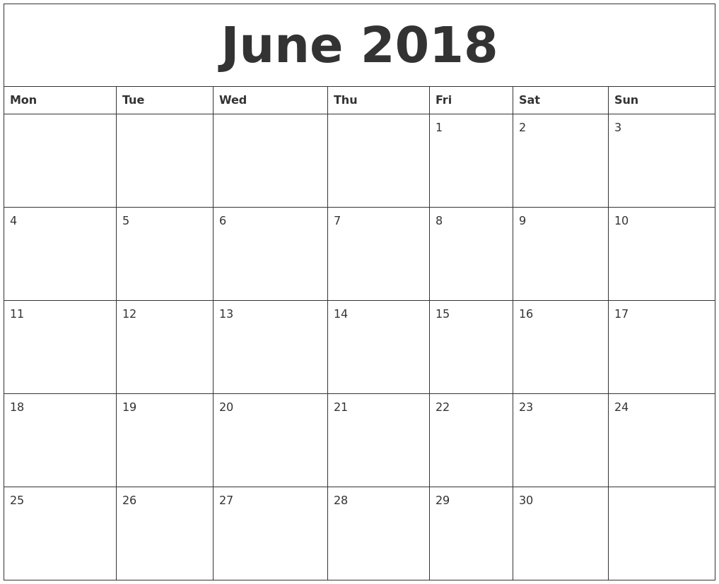 June 2018 Printable Daily Calendar