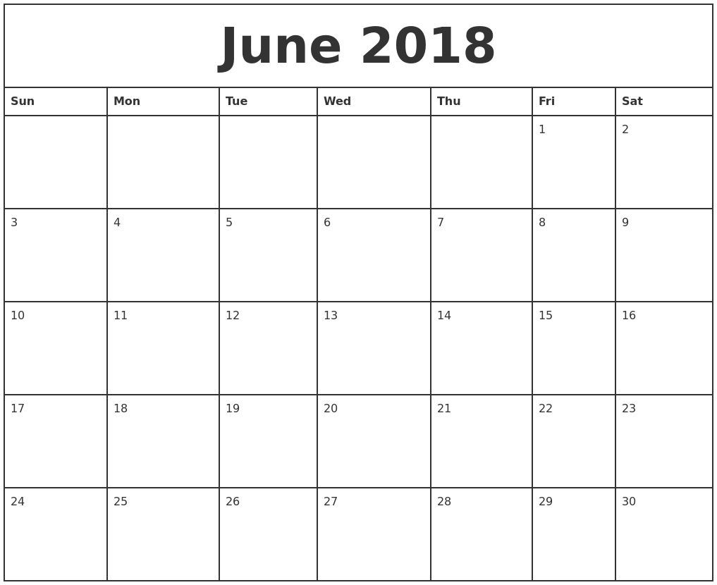 June 2018 Printable Monthly Calendar
