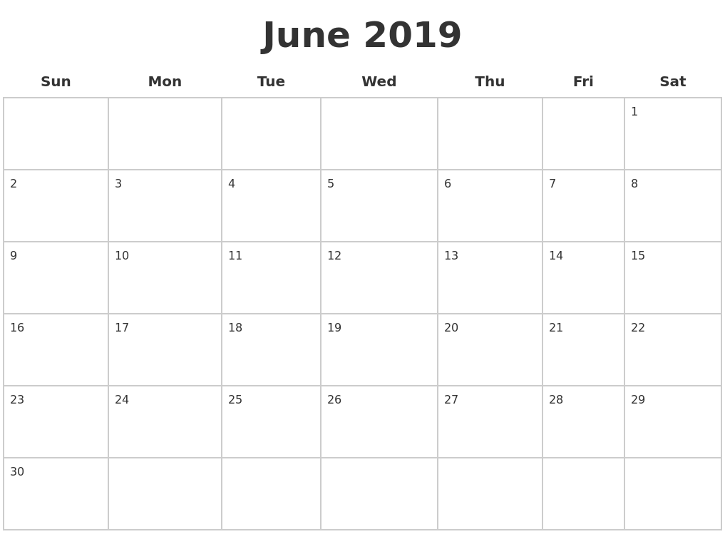 June 2019 Blank Calendar Pages