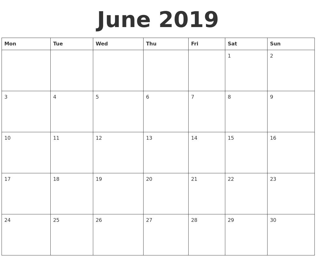 June 2019 Blank Calendar Template