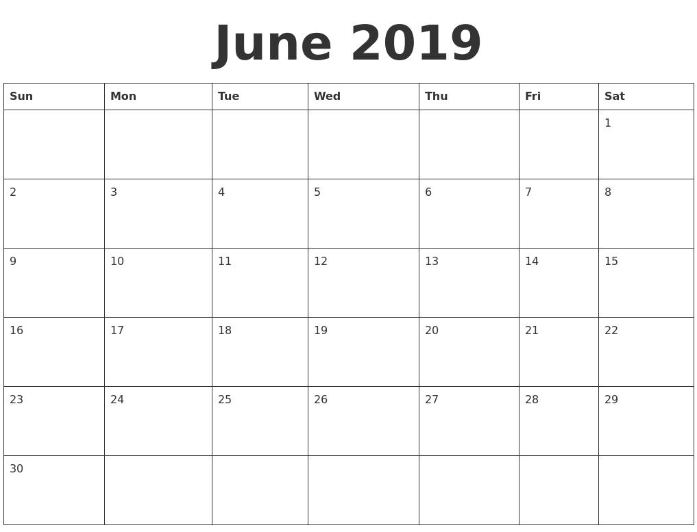calendar for june 2018