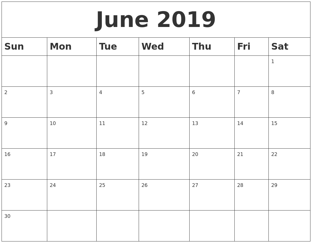 June 2019 blank calendar for Usable calendar template