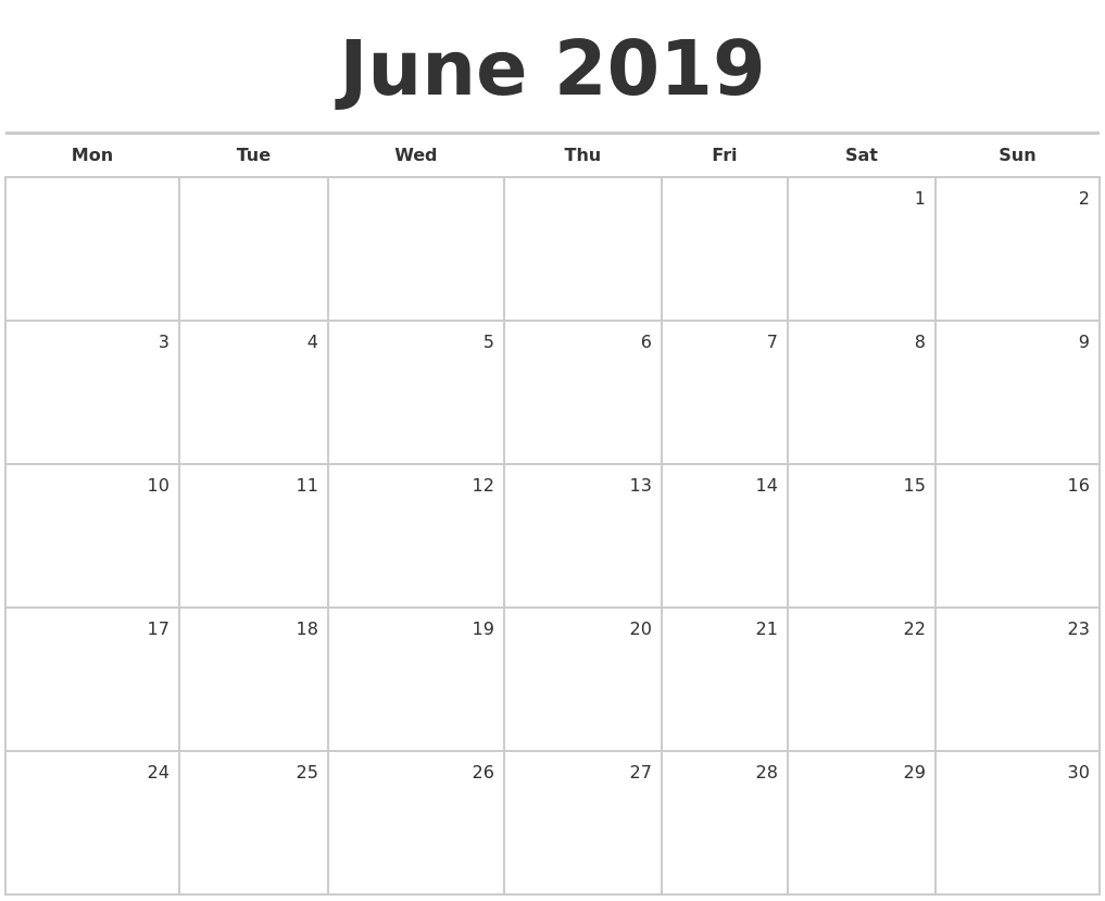 June 2019 Blank Monthly Calendar