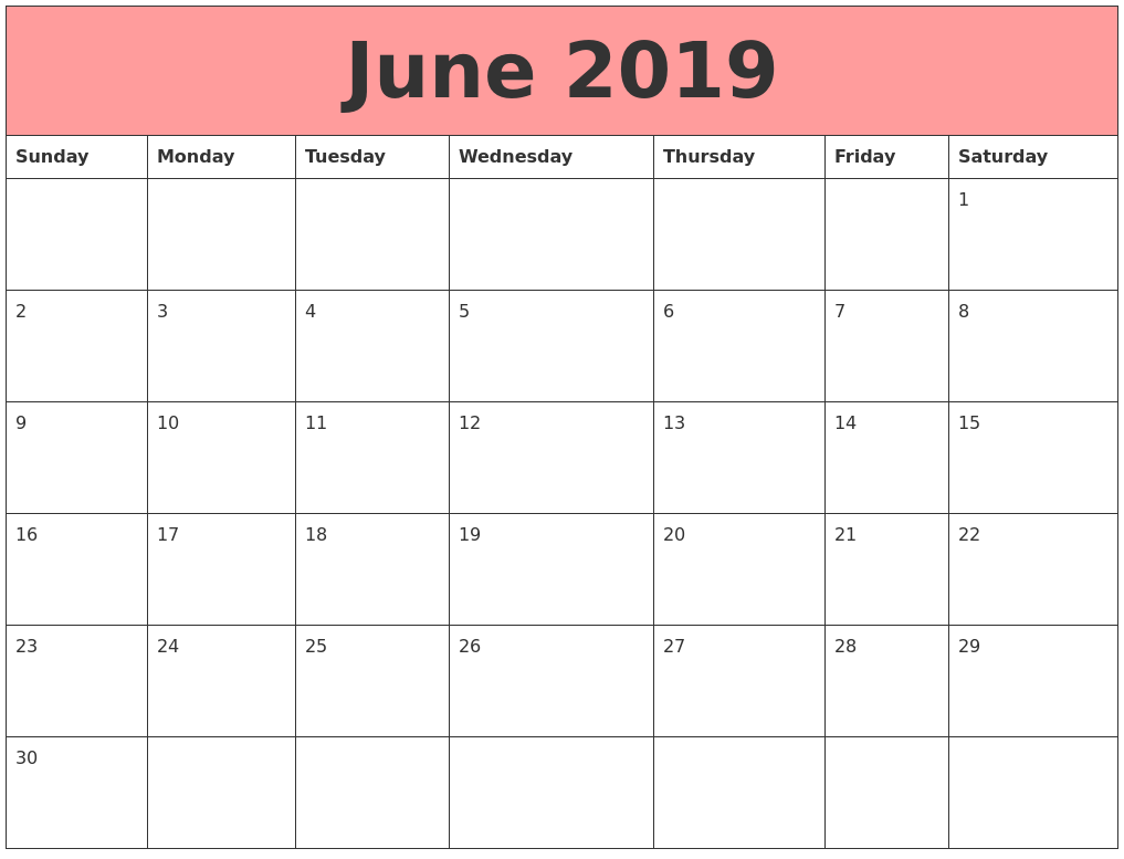 June 2019 Calendars That Work
