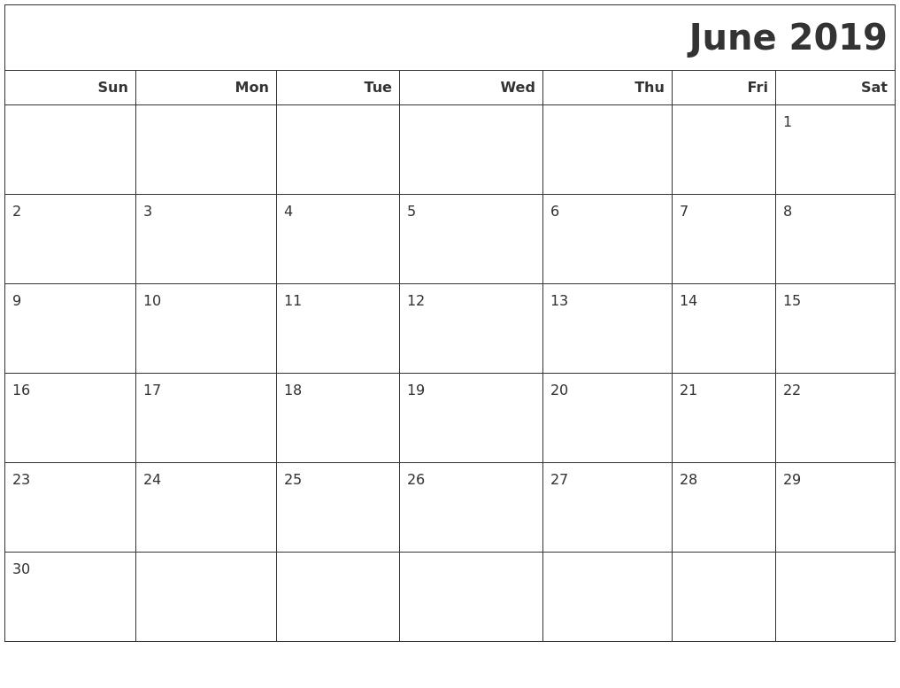 june 2019 calendars to print