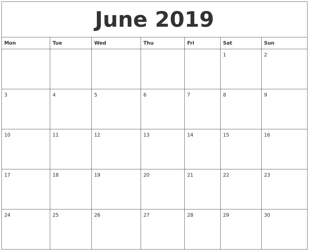 Calendar Of June.June 2019 Create Calendar
