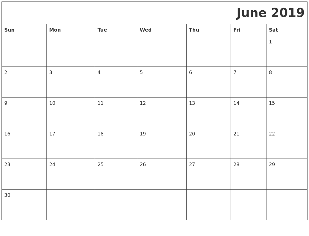 June 2019 Download Calendar