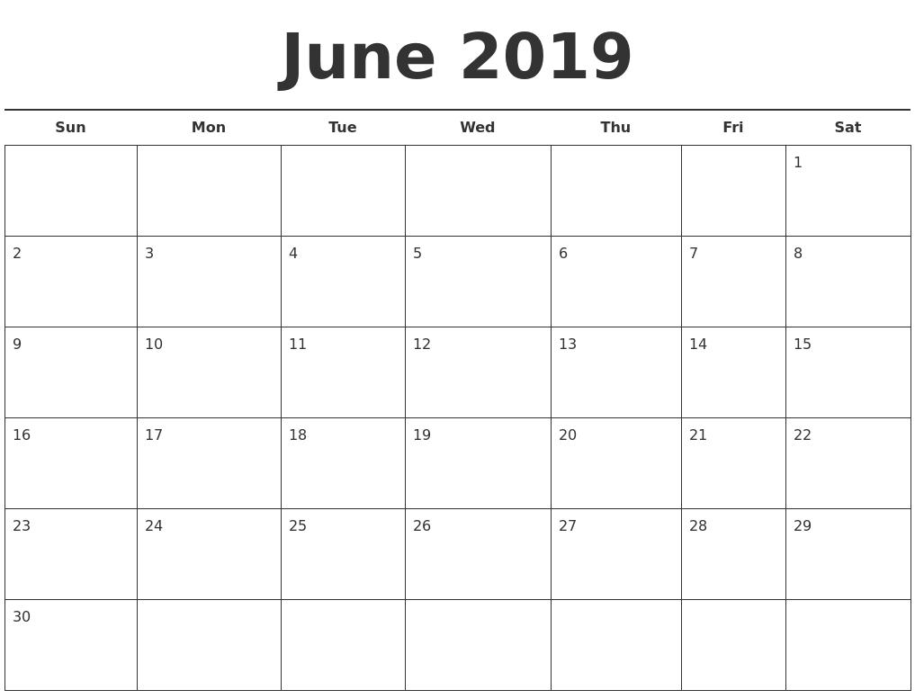 June 2019 Free Calendar Template
