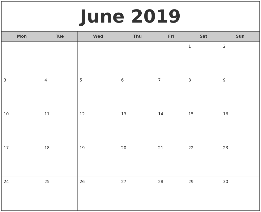 June 2019 Calendar - FREE DOWNLOAD - Freemium Templates