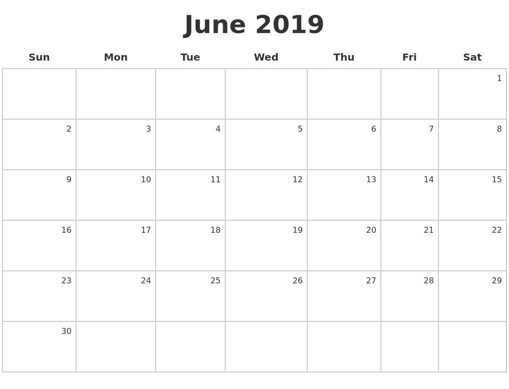 Calendar June 2019 : June make a calendar