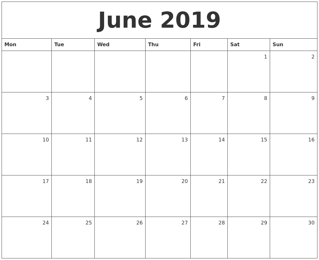 June 2019 Monthly Calendar