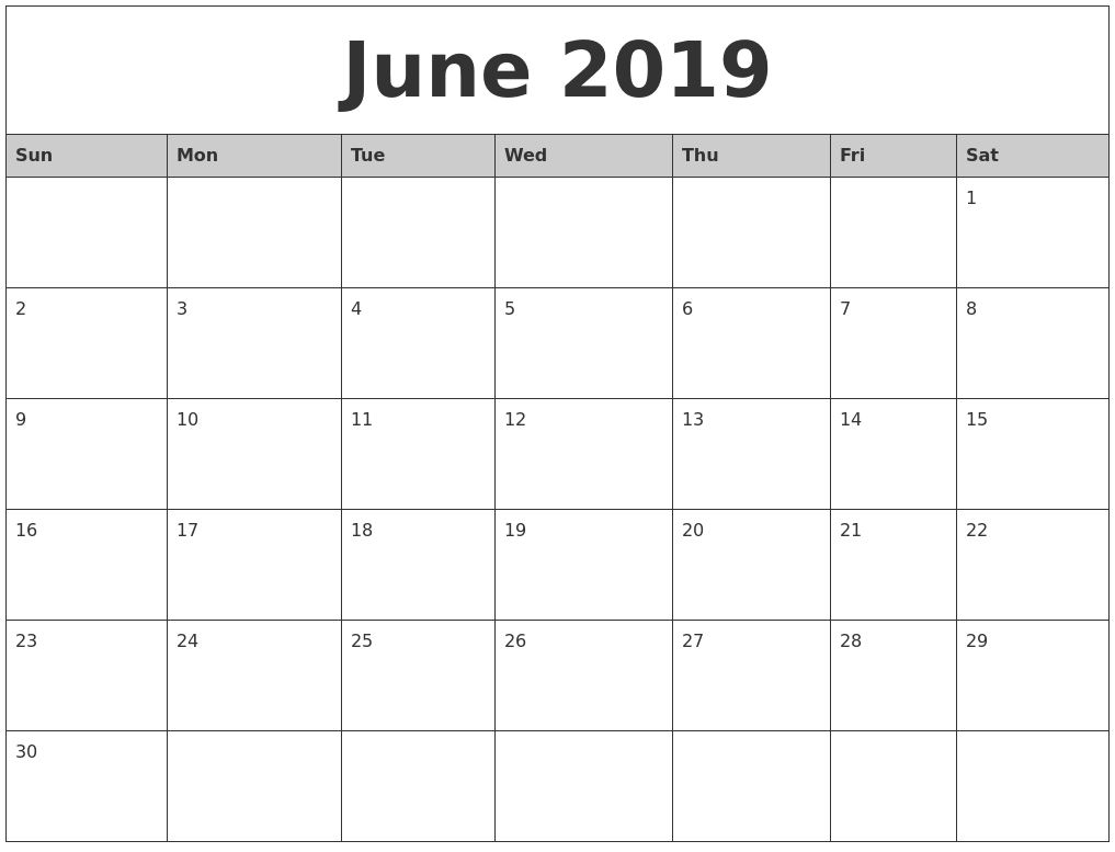 June 2019 Monthly Calendar Printable