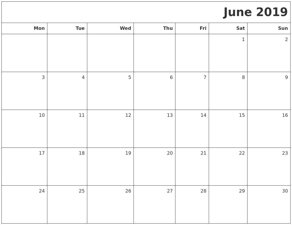 Calendar June 2019 : June printable blank calendar
