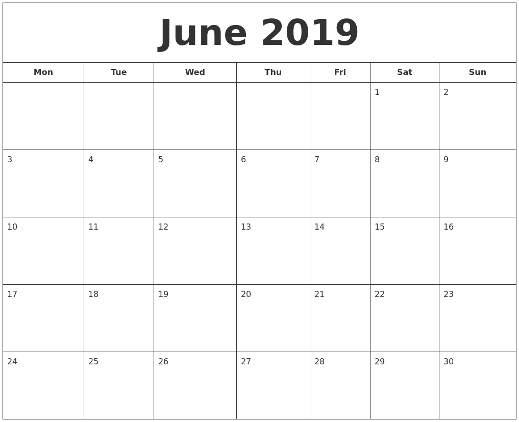 graphic relating to Printable June known as June 2019 Printable Calendar