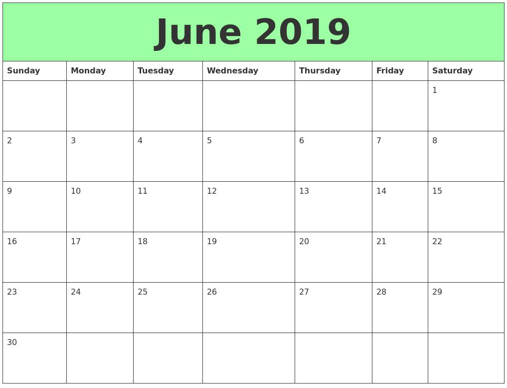 June 2019 Printable Calendars