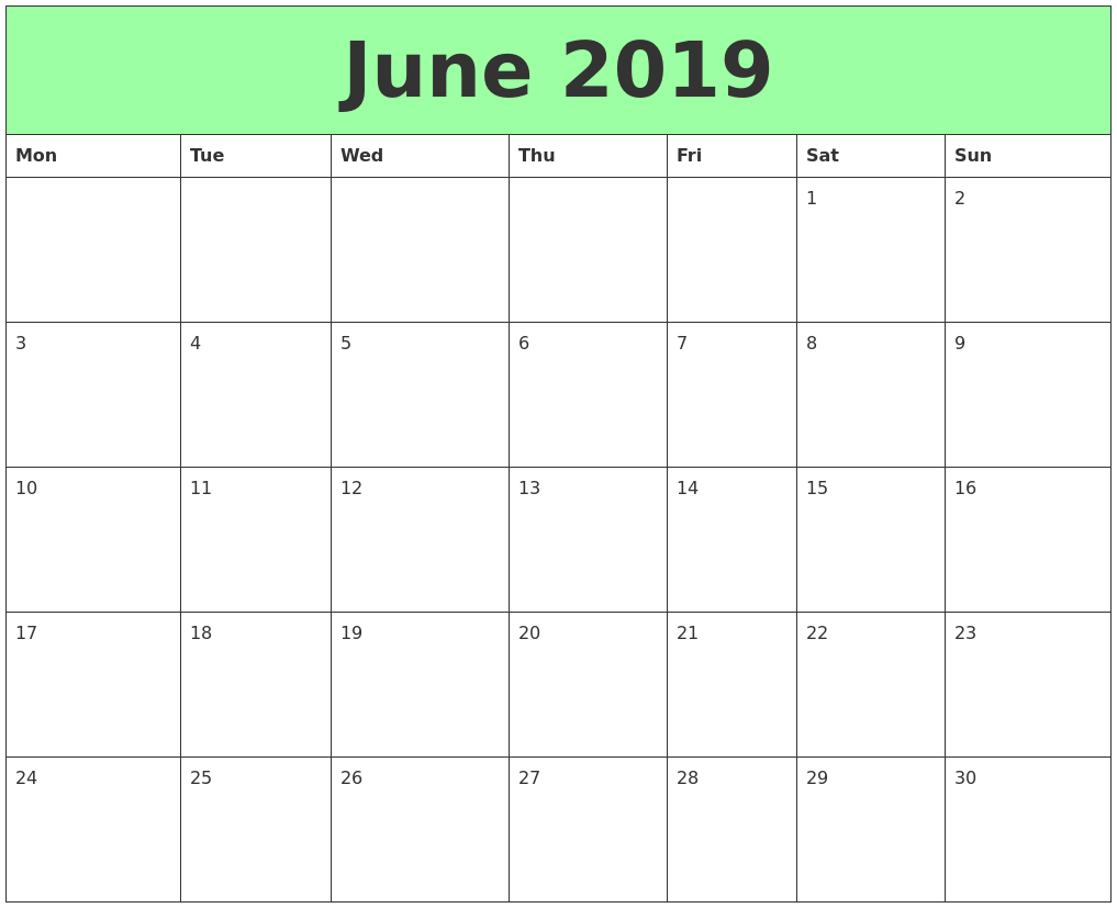 image regarding June Printable Calendar referred to as June 2019 Printable Calendars