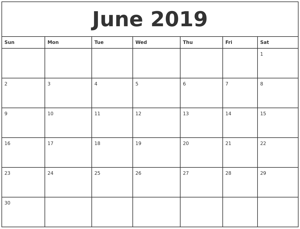 graphic about Printable Monthly Calendars referred to as June 2019 Printable Month-to-month Calendar