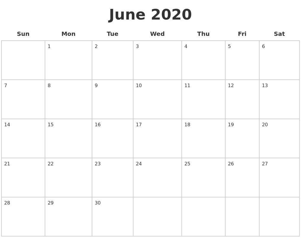 June 2020 Blank Calendar Pages
