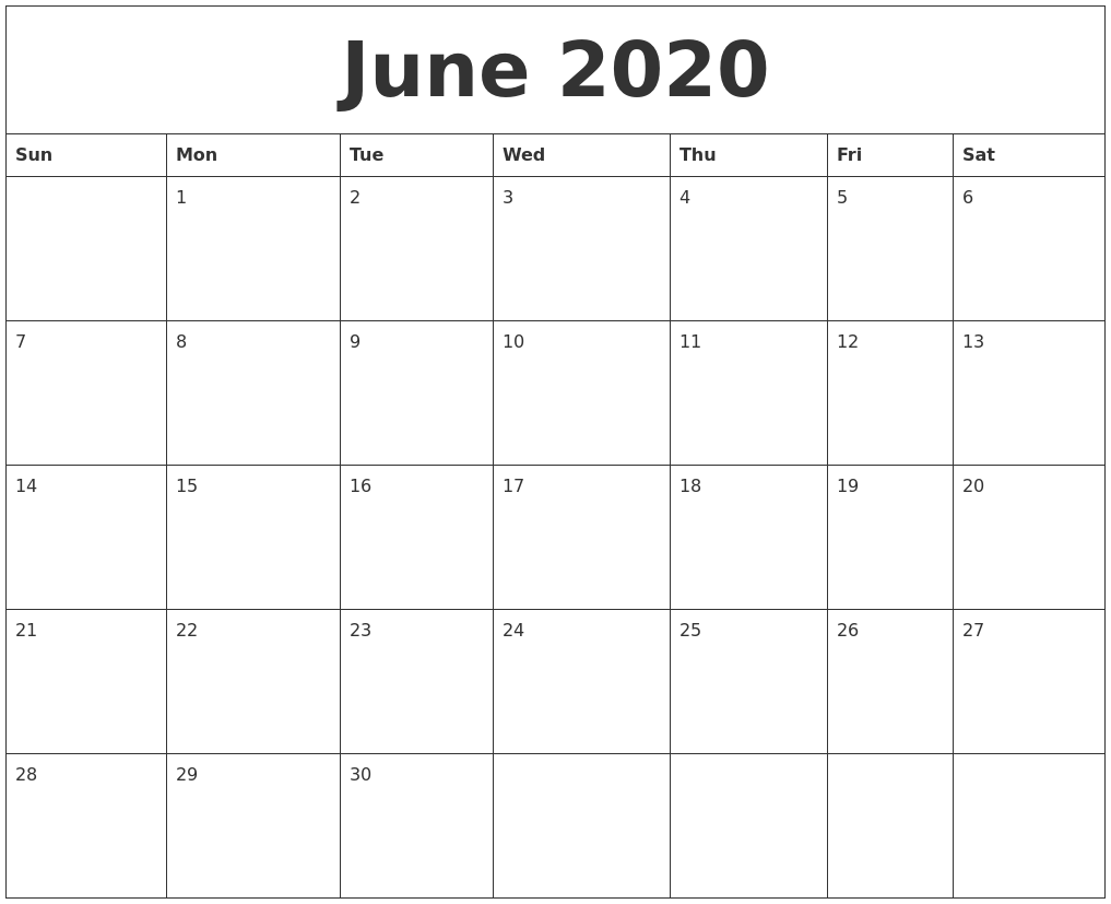 June 2020 Calendar Monthly