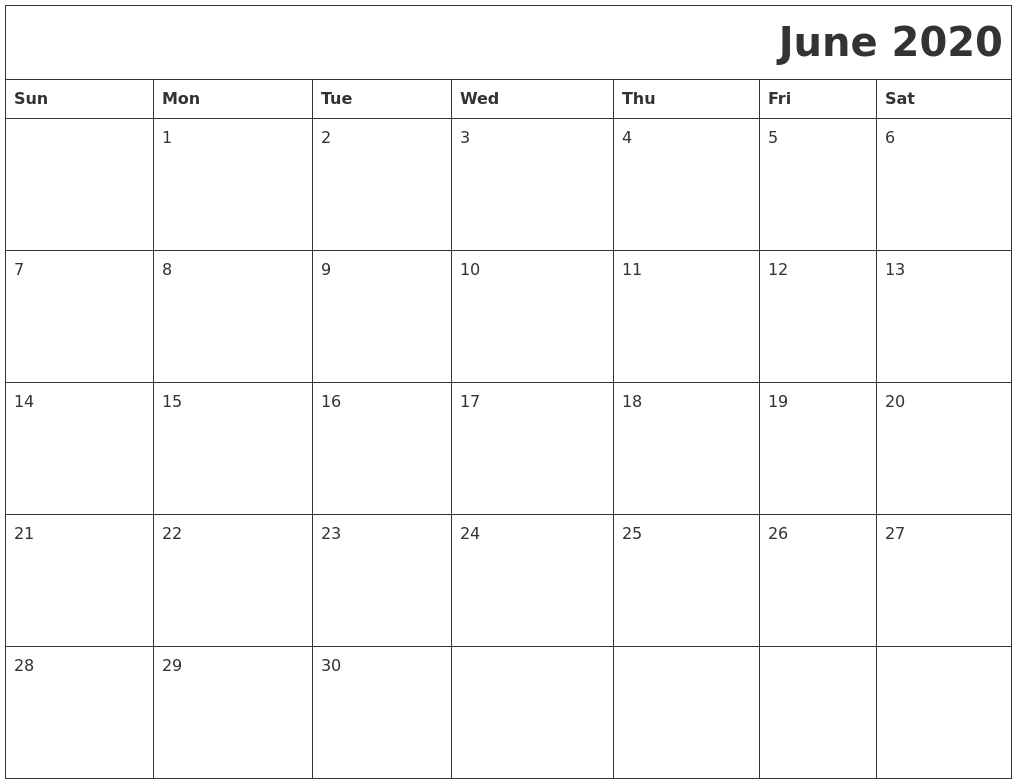 June 2020 Download Calendar