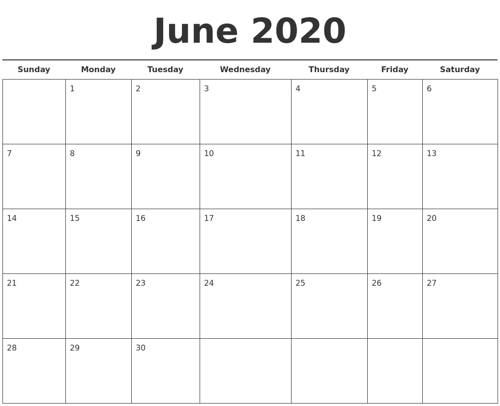 June 2020 Free Calendar Template