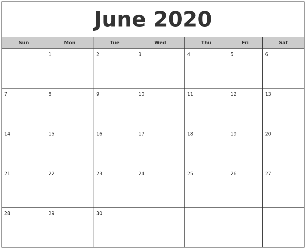 June 2020 Free Monthly Calendar