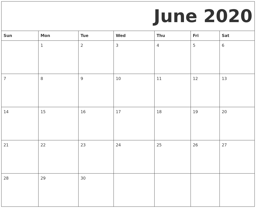 July 2020 Printable Calendars