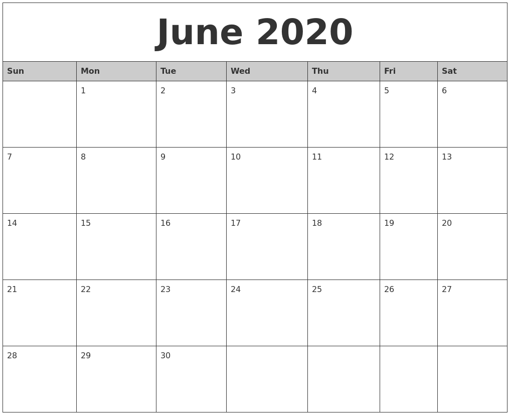 June 2020 Monthly Calendar Printable