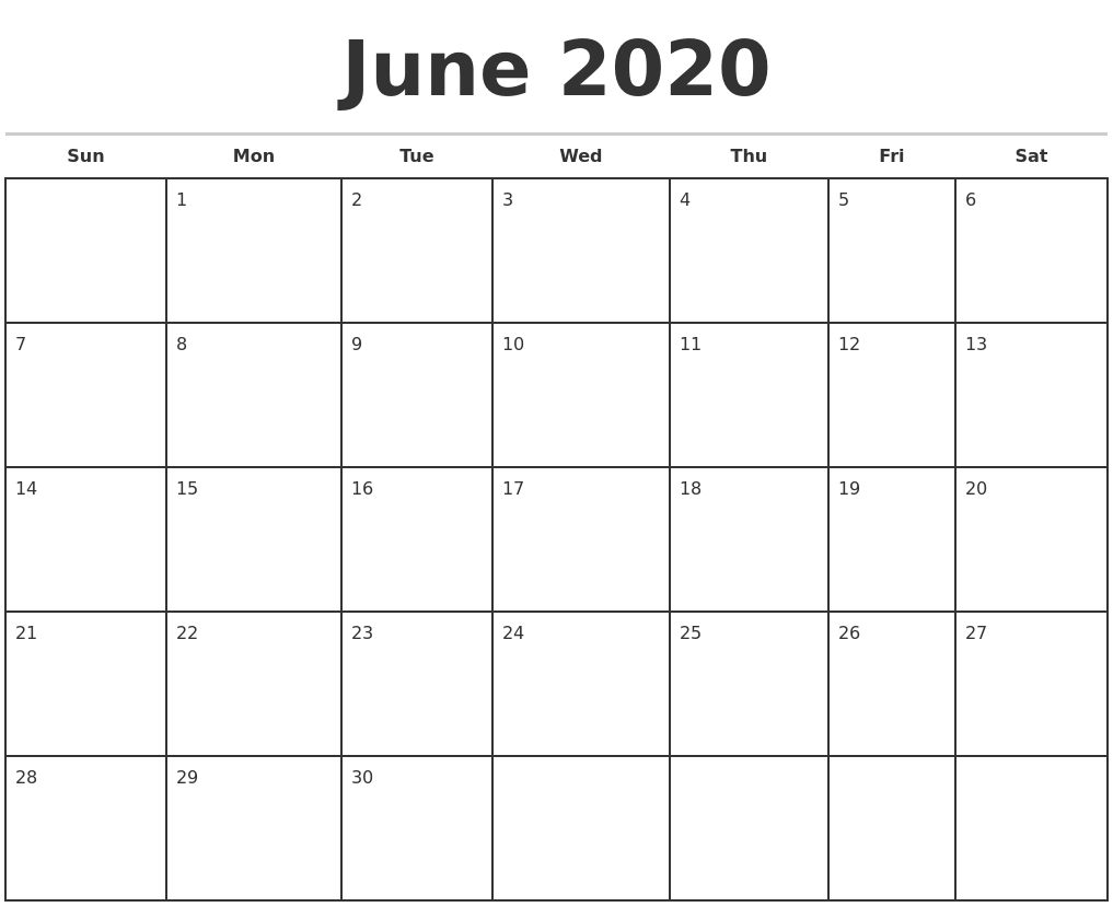June 2020 Monthly Calendar Template