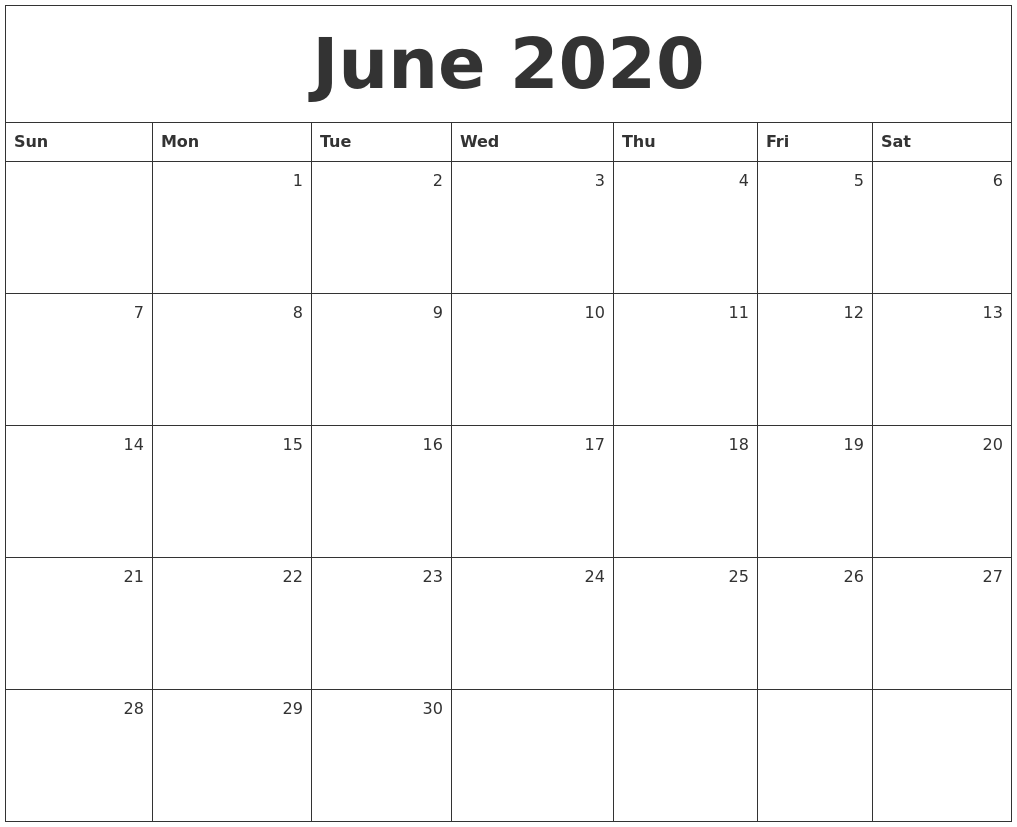 June 2020 Monthly Calendar