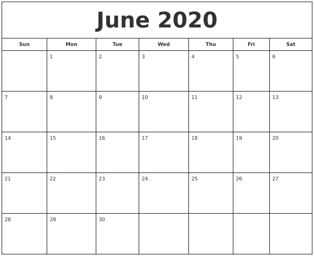 April 2020 Free Calendar Template