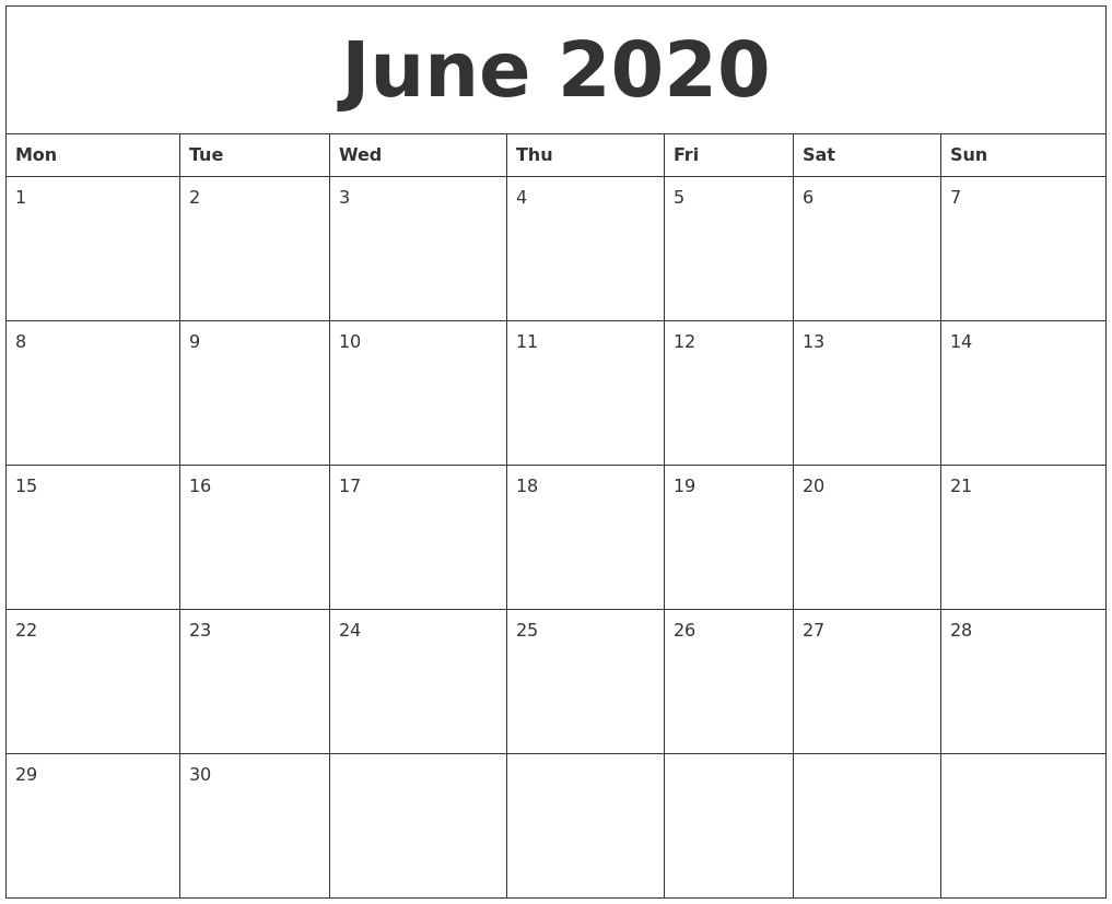 June 2020 Printable Calendar Free