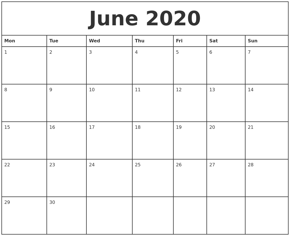 June 2020 Printable Monthly Calendar PDF's
