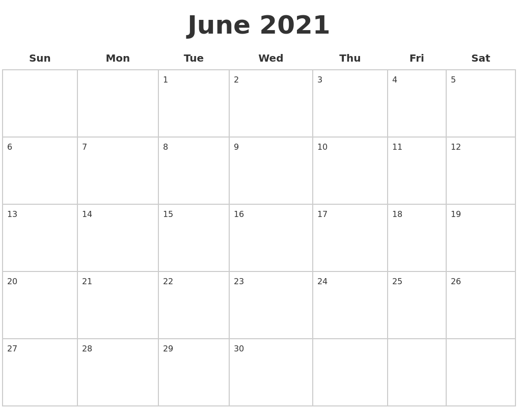 June 2021 Blank Calendar Pages