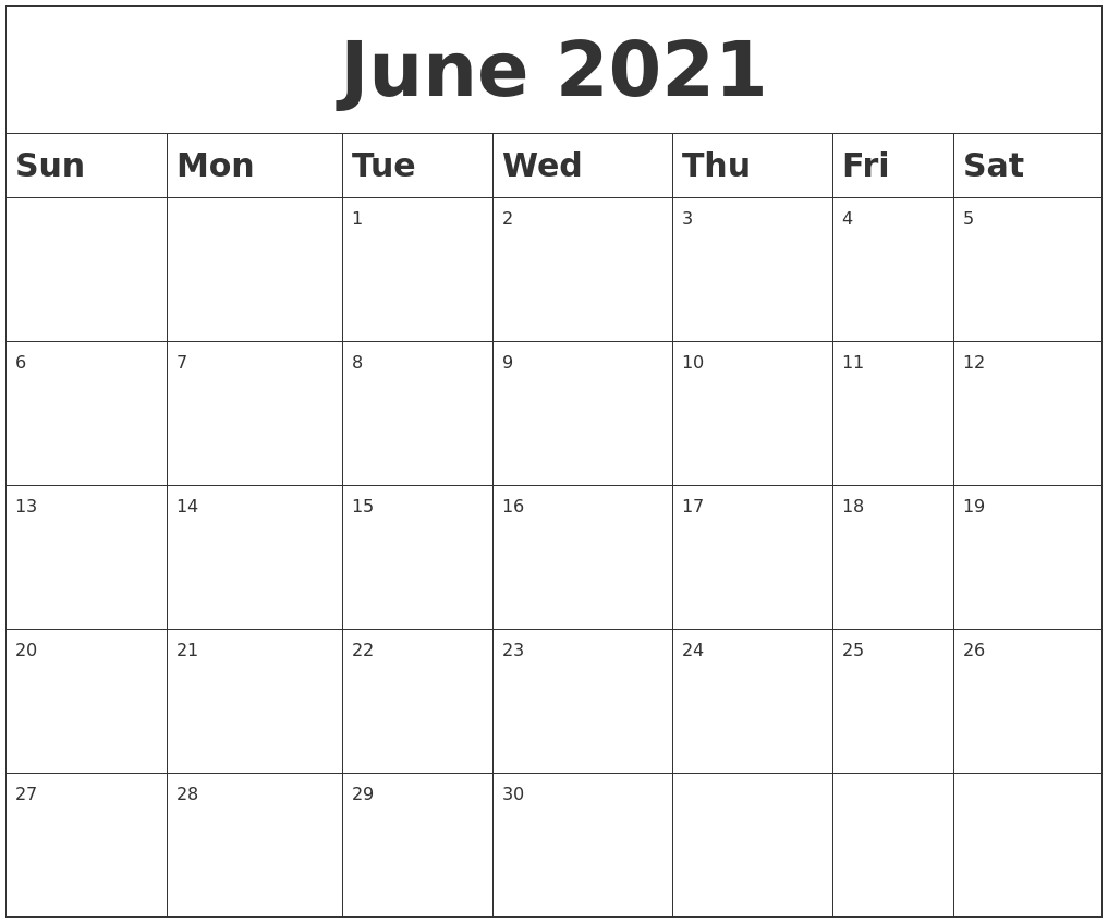 June 2021 Calendar Clipart June 2021 Blank Calendar
