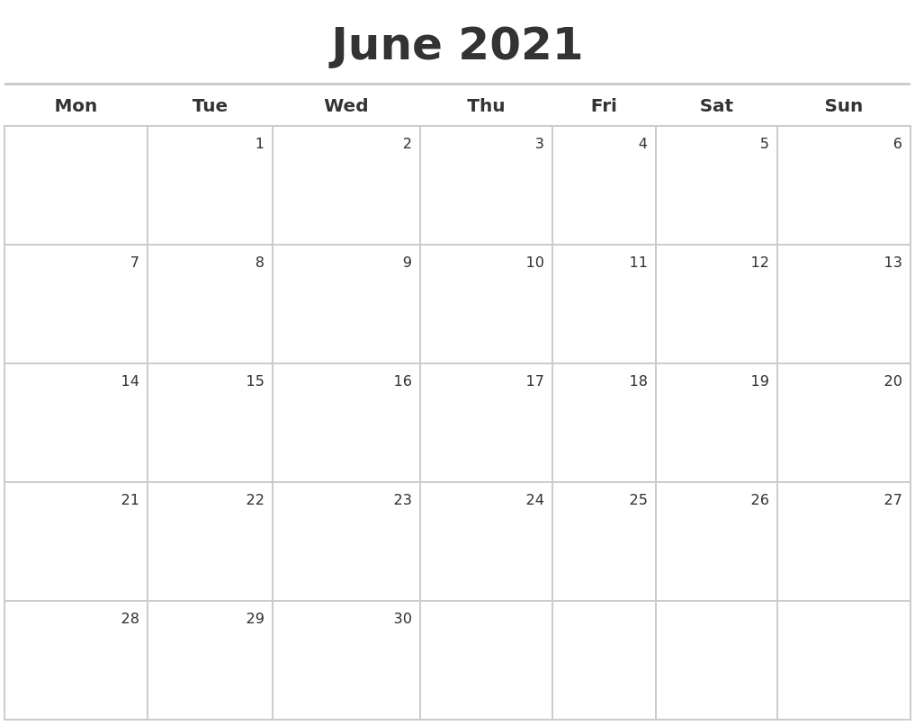 June 2021 Calendar Maker