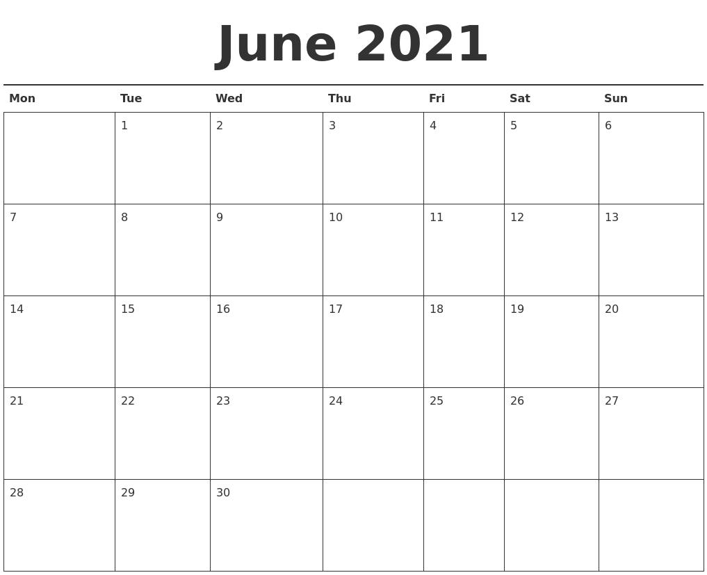 June 2021 Calendar Printable PDF's
