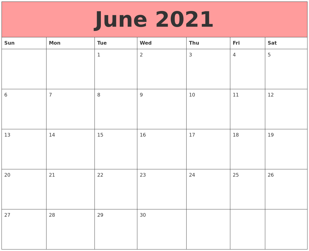 June 2021 Calendars That Work