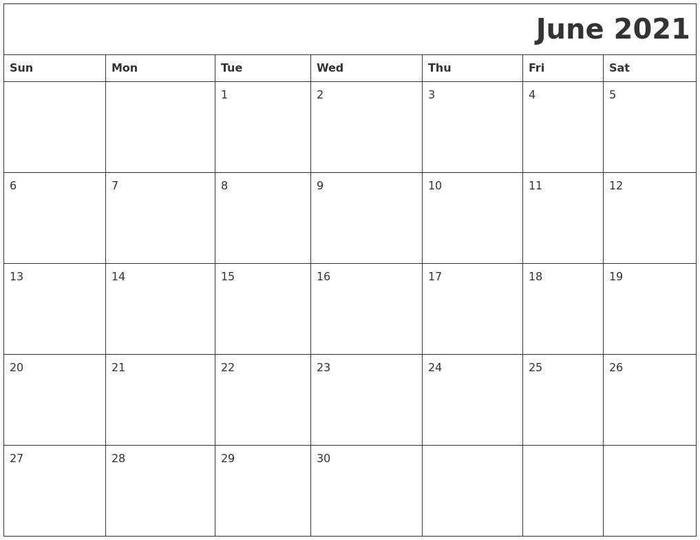 June 2021 Download Calendar