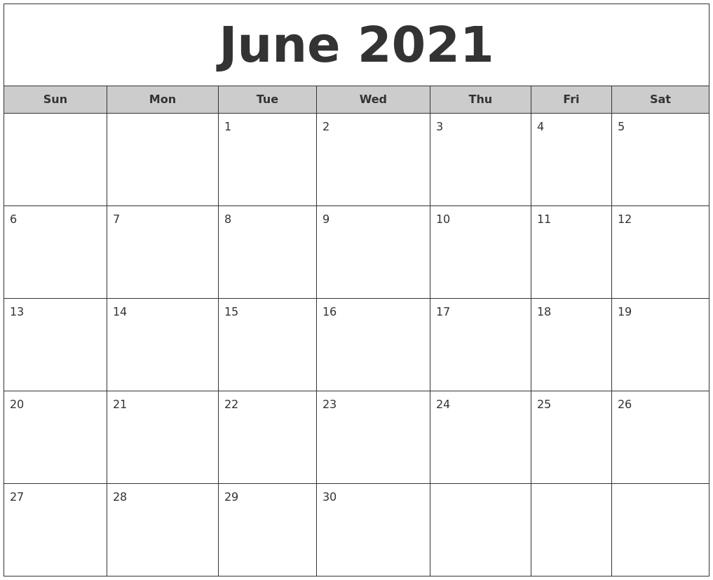 June 2021 Free Monthly Calendar