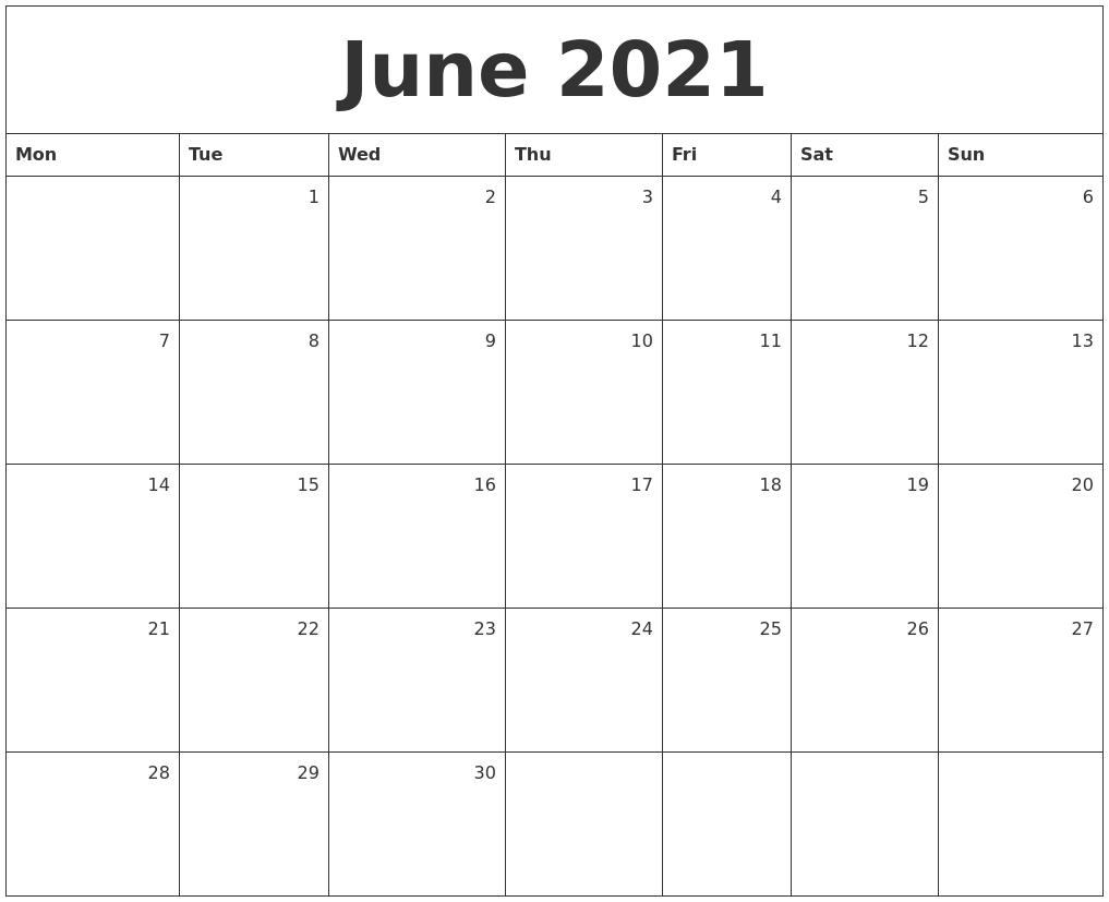 Monthly Calendar Monday Start : June monthly calendar