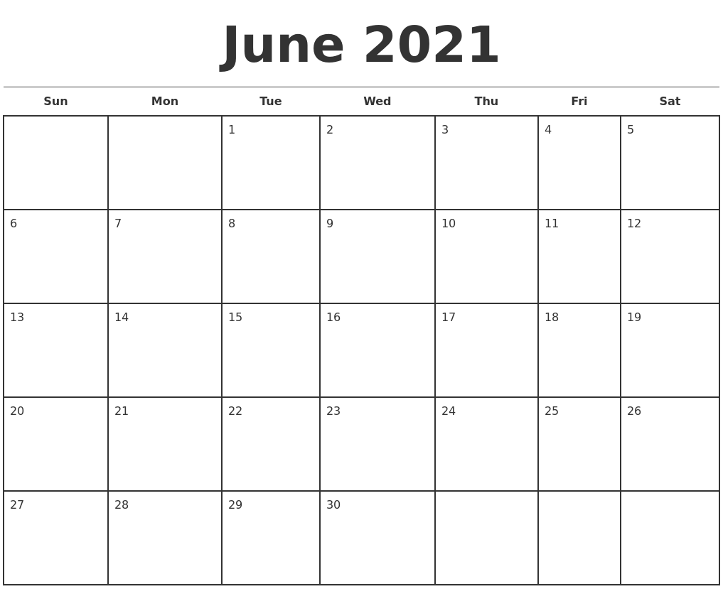 June 2021 Monthly Calendar Template