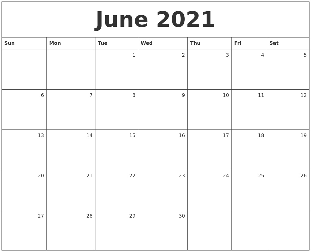 June 2021 Monthly Calendar