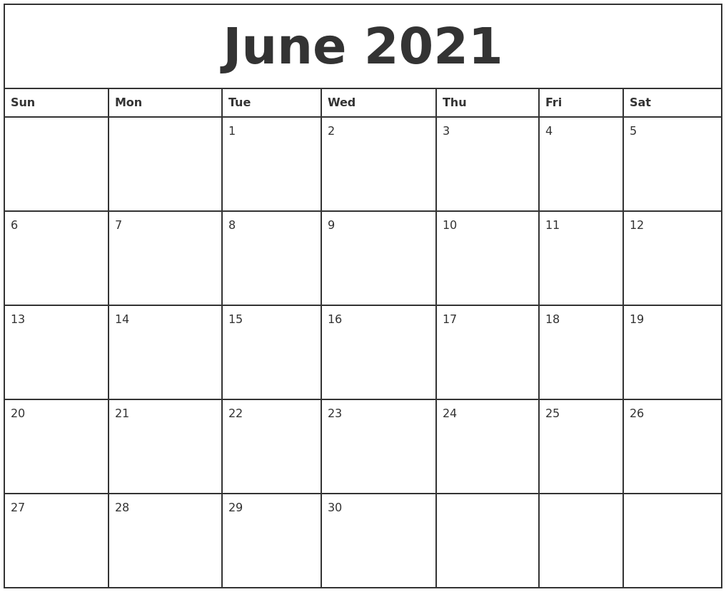 June 2021 Printable Monthly Calendar