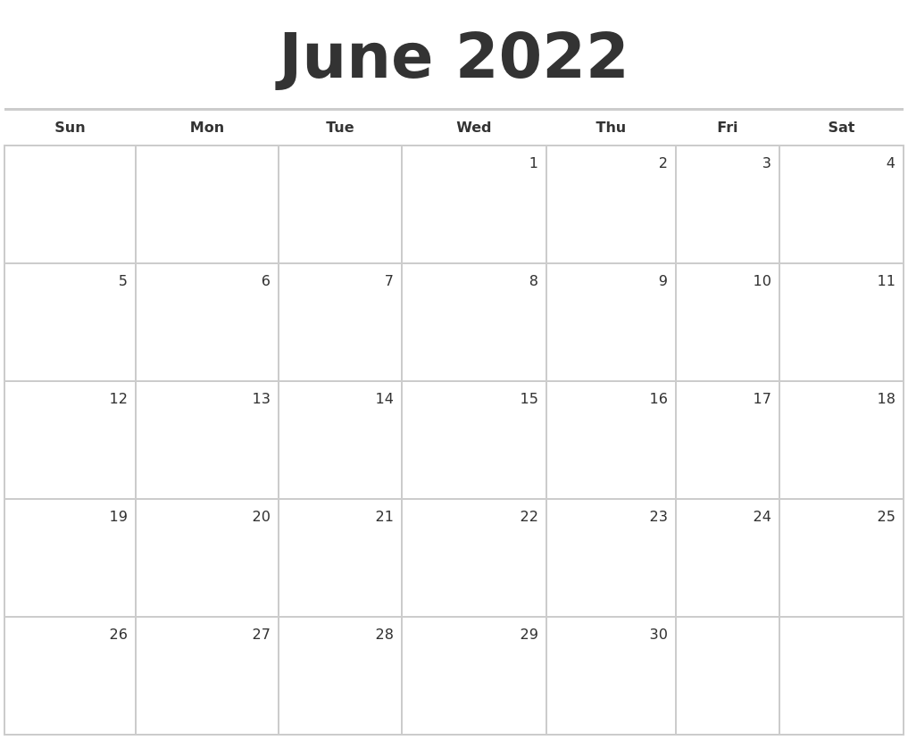 June 2022 Blank Monthly Calendar