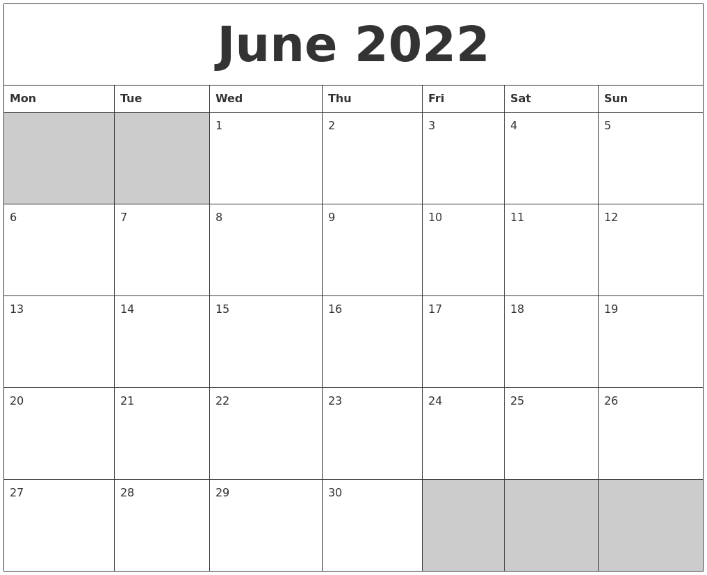 June 2022 Blank Printable Calendar PDF's