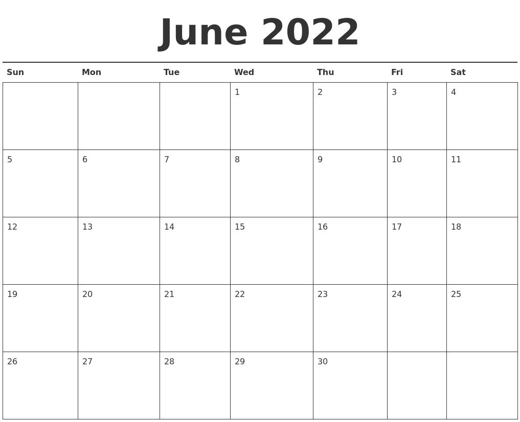 Print Calendar June 2022.June 2022 Calendar Printable