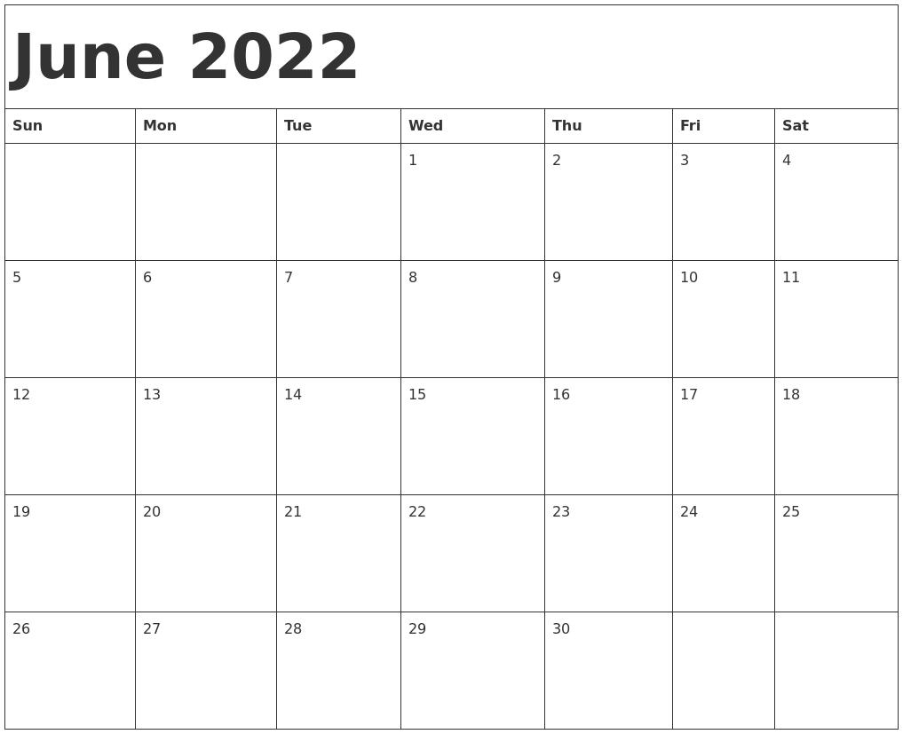 Blank Calendar For June 2022.June 2022 Calendar Template