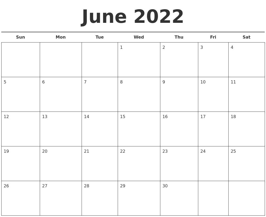 June 2022 Free Calendar Template